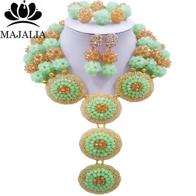 Majalia Moda Nigéria Casamento Beads Africanos Set Jóias verde Menta e ouro  ab Colar de Cristal 0d22ad67484ec