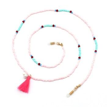 Cuentas de colores de acrílico, cadena de perlas tassl, cadenas para anteojos, soporte de cuerda, correa de gafas, cordón, accesorios de banda para el cuello