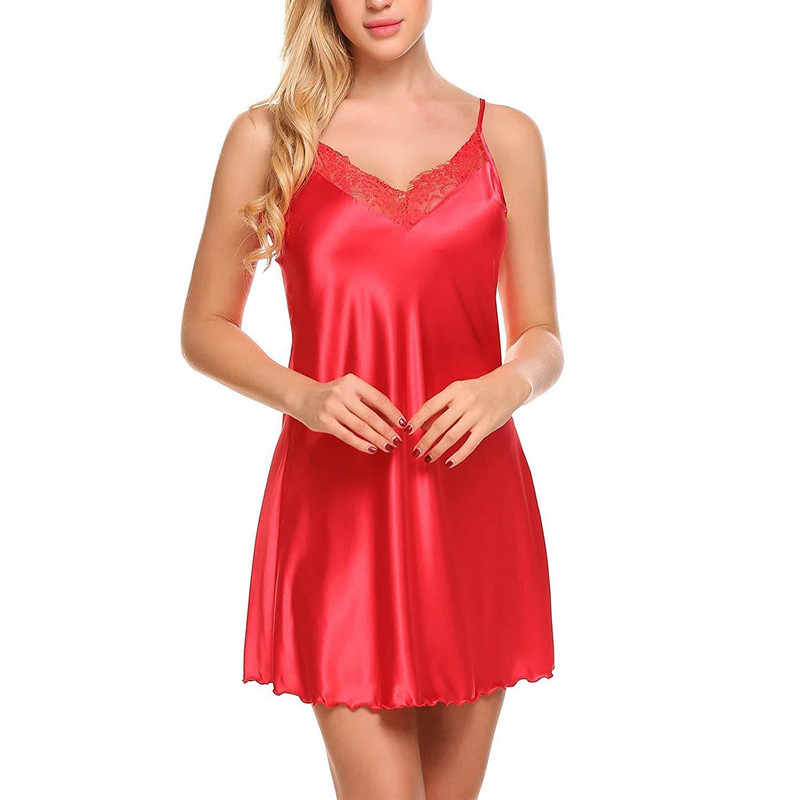 bc1be2800 ... Sexy Lace V Neck Lingerie Dresses Women Night Dress Satin Sleepwear Lace  Up Sleepwear Sleeveless Night