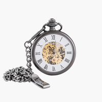 Vintage Charm Matte Black Unisex Retro Roman Number Mechanical Steampunk Pocket Watch Women Man Necklace Pendant with Chain Pocket & Fob Watches     -