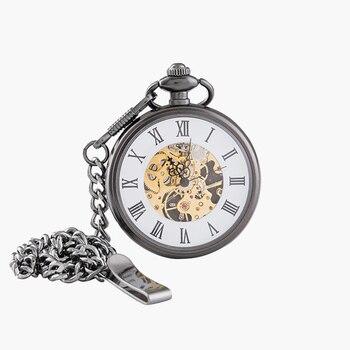 Vintage Charm Matte Black Unisex Retro Roman Number Mechanical Steampunk Pocket Watch Women Man Necklace Pendant with Chain