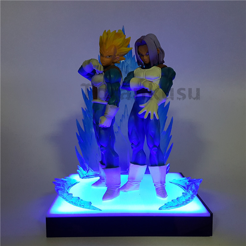 все цены на Dragon Ball Z Vegeta Trunks Father Son Super Saiyan Led Light Base Anime Dragon Ball Z DBZ Model Toy Goku Action Figure