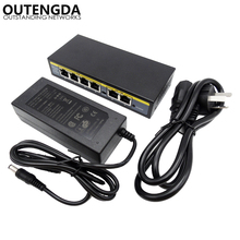 купить 250M 90watt 6 Port 4 PoE Switch 802.3af 802.3at Power Over Ethernet Switch Injector for Wireless AP IP Phones Camera по цене 2243.77 рублей