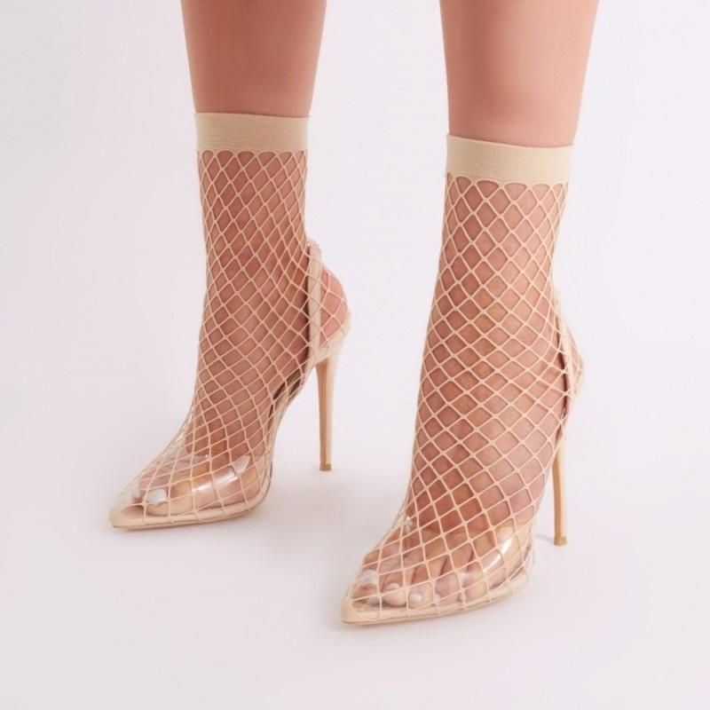 Picture Chaussures Classique Femme Sandales Nude As Évider Mesh Bout Pvc as Bande Picture Sandale Transparent Stiletto Sexy Pompe Pointu Talons Élastique FzpxRnz