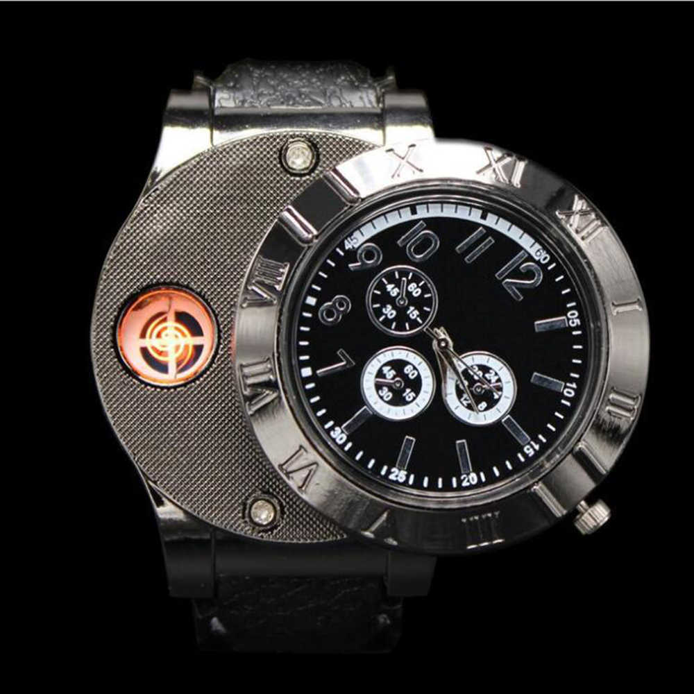 Creative Watch Design USB Charge Cigarette Lighter Automatic Electronic Cigarette Lighter Luxury Quartz Wristwatch Lighter