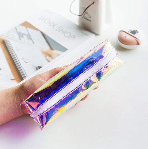 Kawaii Harajuku Girl Makeup Bag Colorful Laser Women Transparent Pencil Cosmetic Case Pouch Pencil Bags cosmetic bags kawaii cartoon pencil pen case cosmetic makeup bag zipper travel pouch case large contain bags mala de maquiagem 2