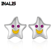 INALIS New Very Cute Smile Face Star Stud Earrings 925 Sterling Silver Delicate Birthday Gift for Girl Friend Brincos Party