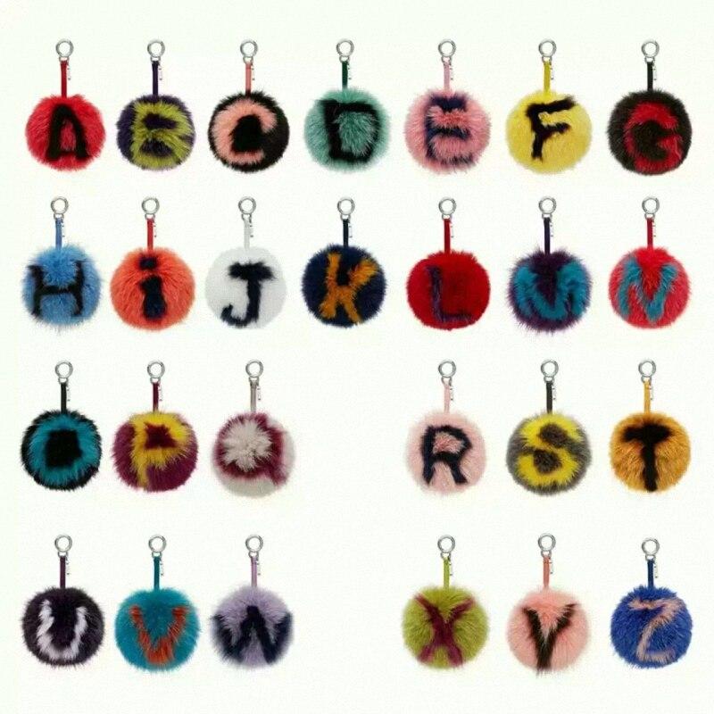 15 CM Grand Moelleux Initial Pom Pom Porte-clés À La Main Réel Renard Boule de fourrure porte-clés Sac Charme Monstre Alphabet Lettre Pompons K023