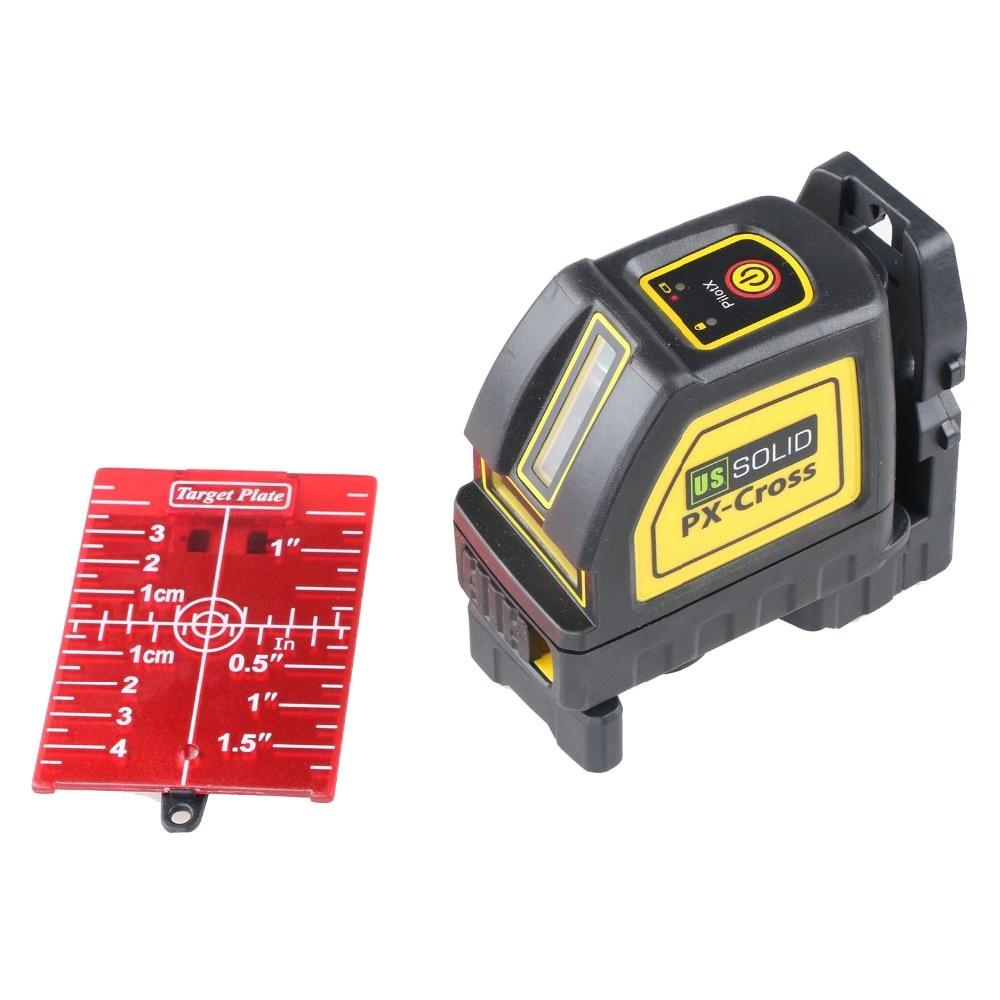 U S Solid Self Leveling Cross Line Laser Level Meter Red Beam 2 Lines Bracket Target