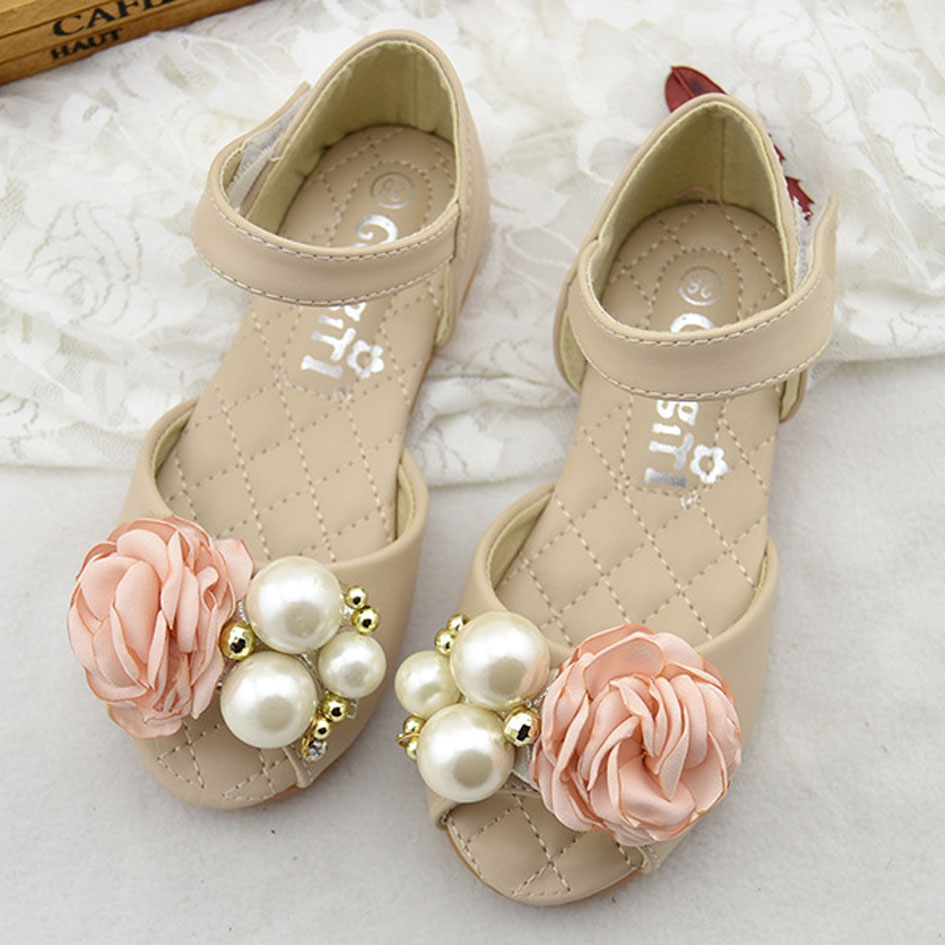 wedding flower girl shoes open toe baby sandals with flowers 2017 summer 9504