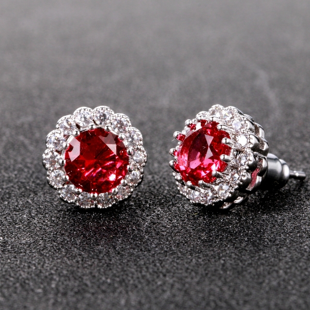 Fashion New Earring Style 2018 Real 925 Sterling Silver Fine Jewely Women's Ruby Stud Earrings Wedding Party Jewerly For Girl