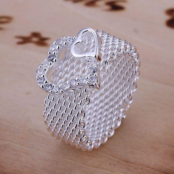 dc7370b814bc6 925 anel de prata moda Zircon coração anel mulheres e homens presente jóias  anéis de dedo SMTR063