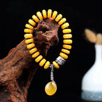 51a18f0173a0 RADHORSE 925 Thai plata pulseras para las mujeres joyería fina ámbar  Natural Hetian Biyu diseño original Diy pulseras de cuerda elástica