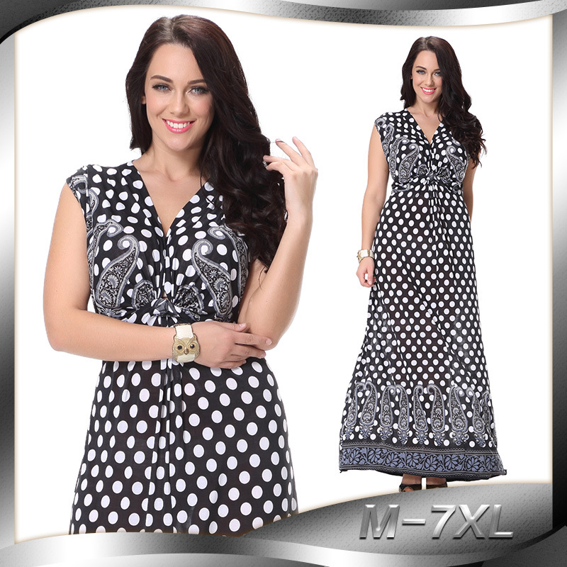 Plus Size Dots Print Tunic Women Dress Sleeveless Summer Elegant Tribal Flower Print Vocation Long Dress Chiffon M-7XL C0520