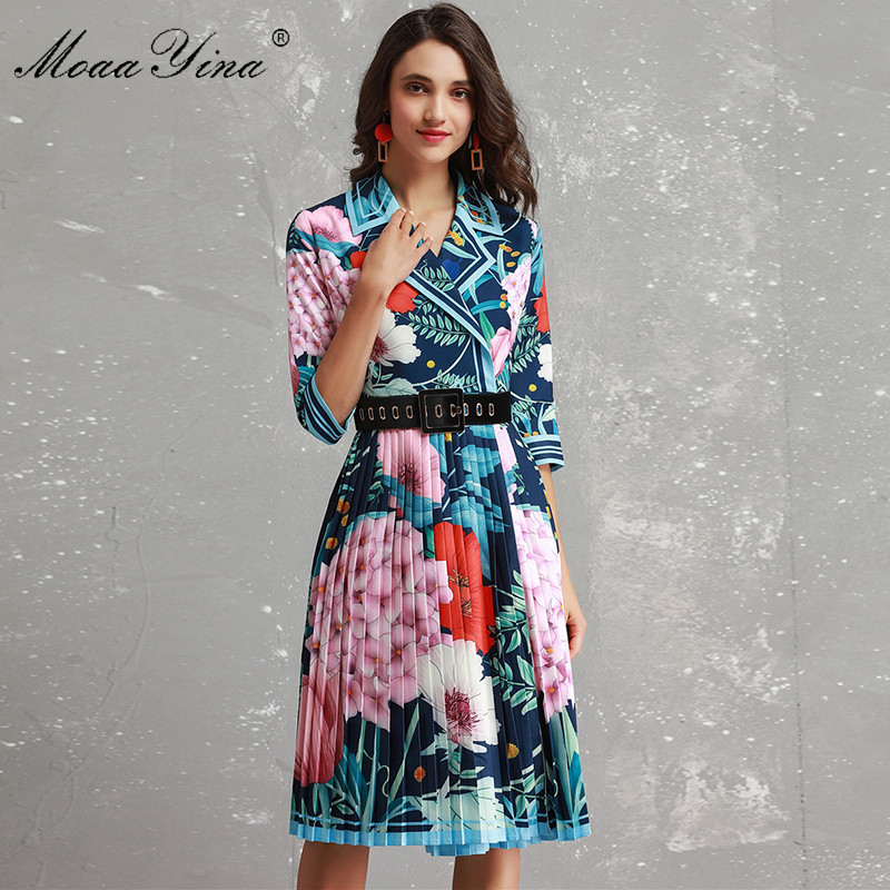 MoaaYina Fashion Designer Dress Women 3 4 sleeve Turn down collar Colorful Floral Print belted Vacation