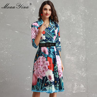 MoaaYina Fashion Designer Dress Women 3/4 sleeve Turn down collar Colorful Floral Print belted Vacation Elegant Pleated Dress