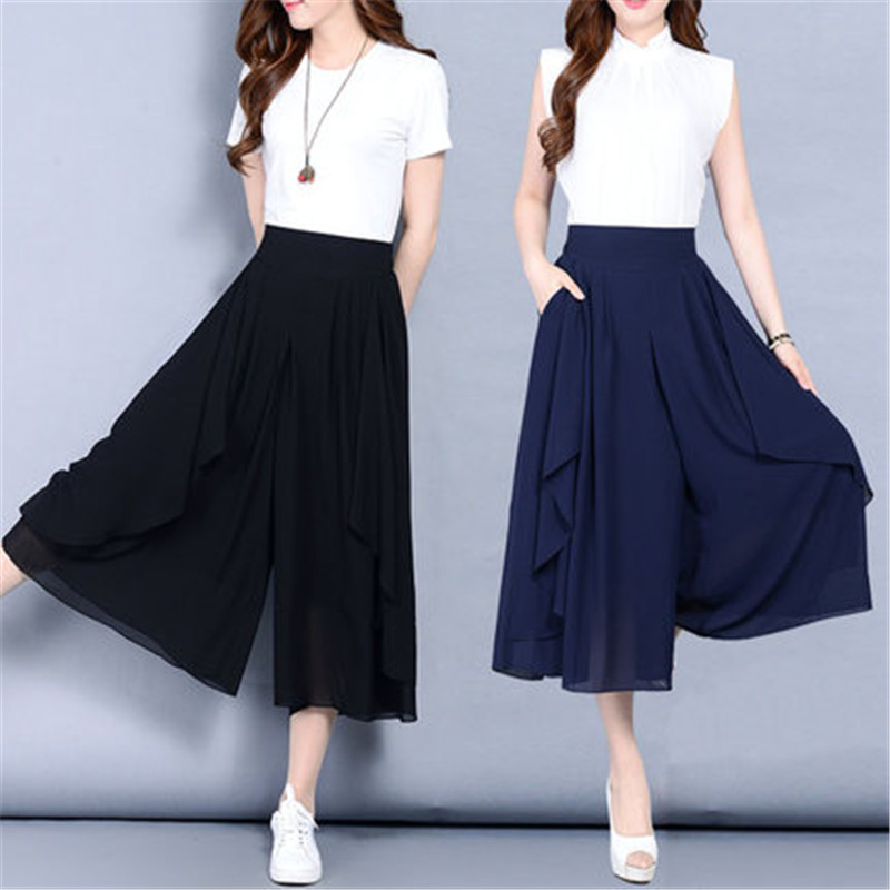 Large Size 6XL Women's Chiffon   Pants   Skirt 2019 New Summer Loose Thin   Wide     Leg     Pants   High Waist Elastic Elegant   Pants   X846