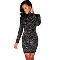 2018 Long Sleeve Rhinestone Dress Women Winter Turtleneck Embellished Bling Bodycon Sparkly Mini Dress Glitter Party Dress Black