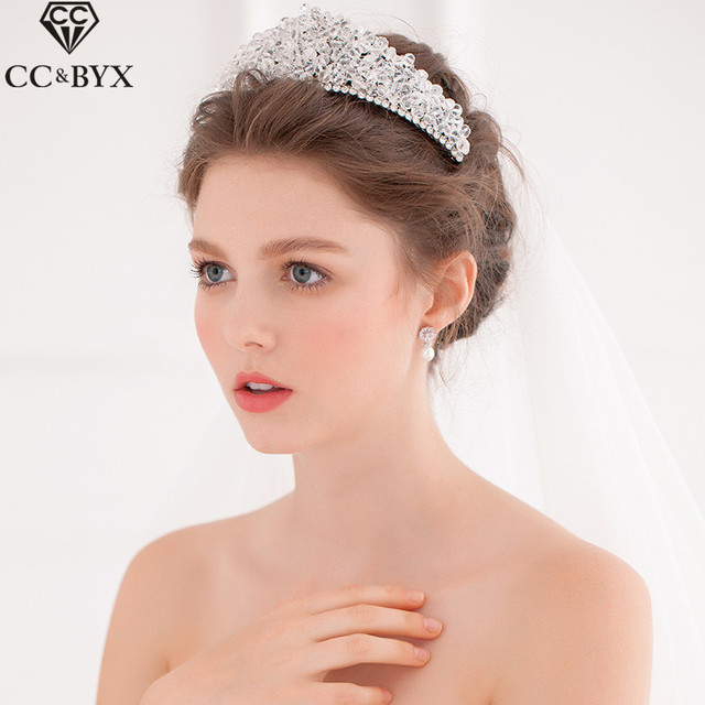 Cc Jewelry Crowns Tiaras Bridal Crystal Pearl Wedding Hair Accessories For Women Party Headwear Queen Brides
