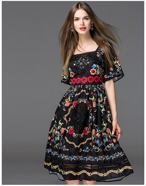 Embroidered prom dress