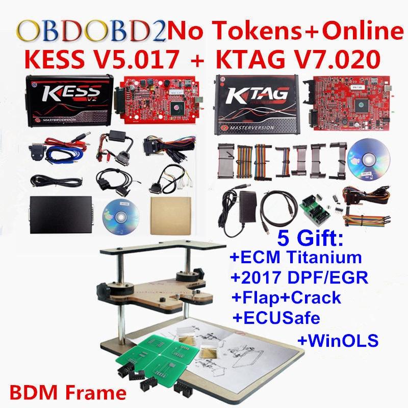 100% No Token Limit Online Master KTAG 7.020+ Kess V5.017 V2.47 Kess V2 OBD2 Manager Tuning Kit+BDM Frame ECU Programmer dhl free shipping kess v2 obd2 tuning kit v2 10 ecu kess v2 master no token limitation 2 years warranty