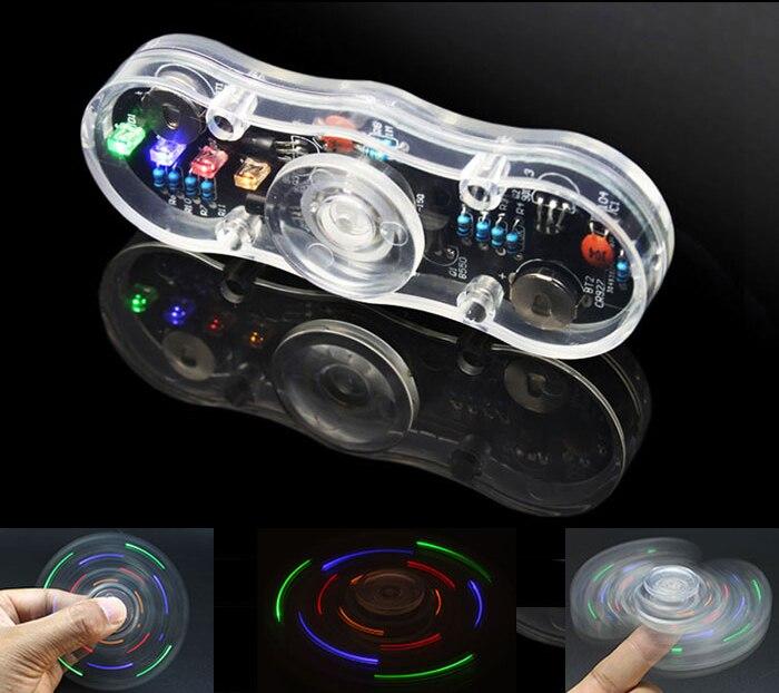 Electronic Diy Kit POV Rotate Fingertip Gyro Diy Soldering Kit Colorful Diode Electronic Training Set
