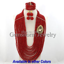 Gorgeous Party African Jewelry Sets Charms 12 Layers Red Crystal Beads Necklace Set Long Full Jewelry Set Free Shipping GS025-1