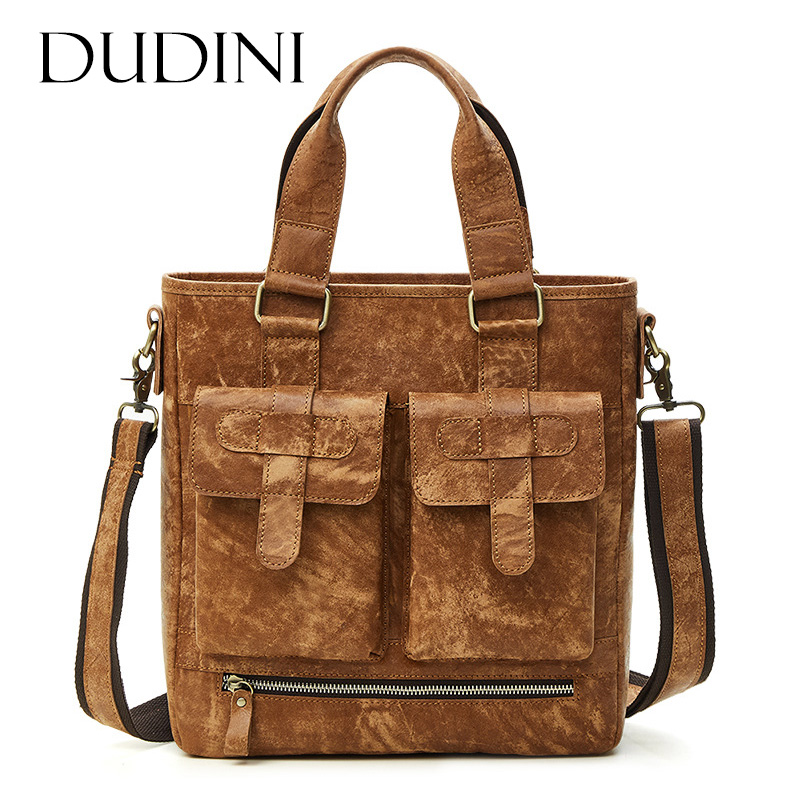 [DUDINI] New Brand Man Genuine Leather Shoulder Bag Male Crossbody Business Bags For Men Vintage Handmade Cow Leather Handbag men crossbody bags real leather 2017 new man fashion vintage brand shoulder messenger bags cow leather casual black bag male