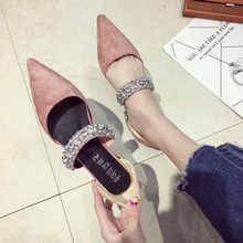 Women's shoes pumps 2018 spring and autumn new fashions,low heels and diamonds sparkling, sharp, shoes.