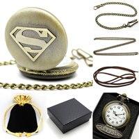 2016 Cadeau Ensemble Superman Thème Quartz Montre De Poche En Bronze Antique Fob Horloge + boîte + Sac + Poche Chaîne + Collier + Bracelet En Cuir