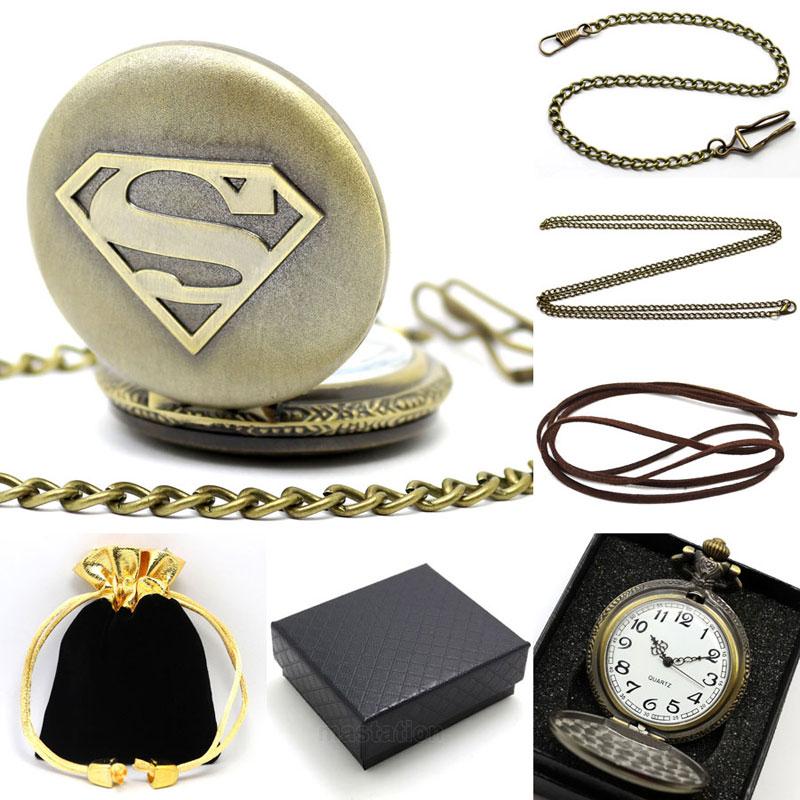 2016 Set De Regalo Superman Tema Reloj De Bolsillo De Cuarzo Bronce