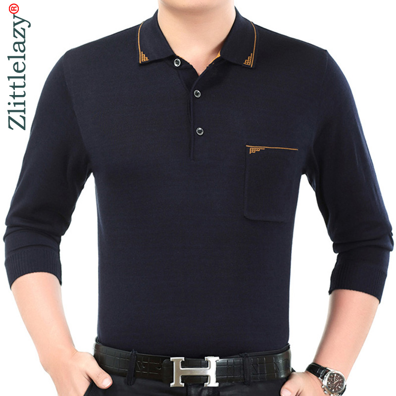 2019 New Casual Long Sleeve Business Mens Shirts Male Solid Fashion Brand Polo Shirt Designer Men Tenis Polos Camisa Social 6161