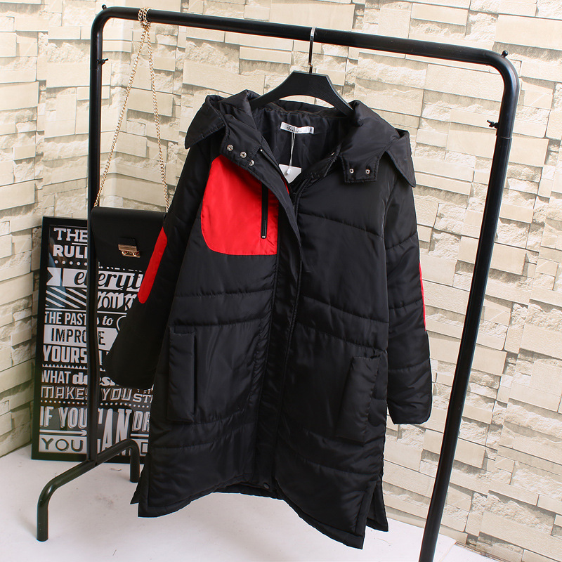 Winter Warm Hooded Cotton Jacket Splicing Color Zippers Large Size Women Coat Female Coat   Parka   XL,XXL,XXXL K17-107F