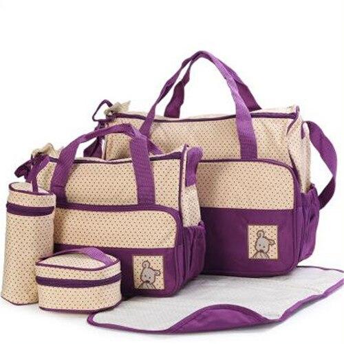 ФОТО 2016 Fashion Mommy Bag 5 pcs/set Baby Eco-friendly Diaper Bag Large Capacity Nappy Bag Grade Quality Mummy Bag Bolsa Maternidade