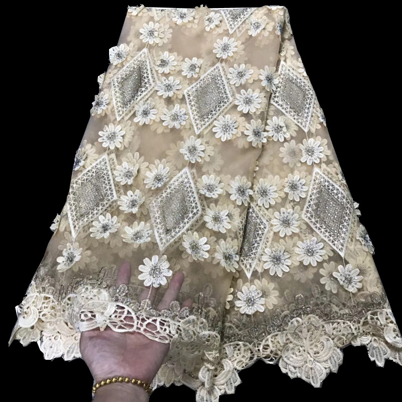8 colors (5yards/pc) cream African French lace fabric 3D flowers appliqued net lace fabric with stones for party dress FLV06