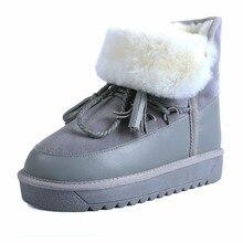 Véritable Cuir à Lacets Femmes bottes de neige plat plate-forme de fourrure Naturelle Hiver bottes Dames cheville bottes Australiennes(China (Mainland))