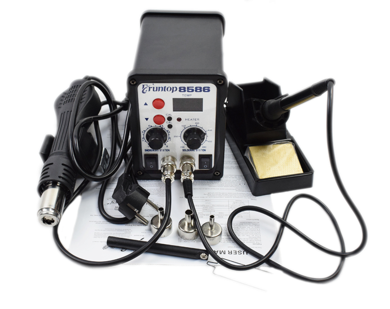 2 in 1 SMD Equipment Rework Station Eruntop 8586  Hot Air Gun + Solder Iron + Heating Element