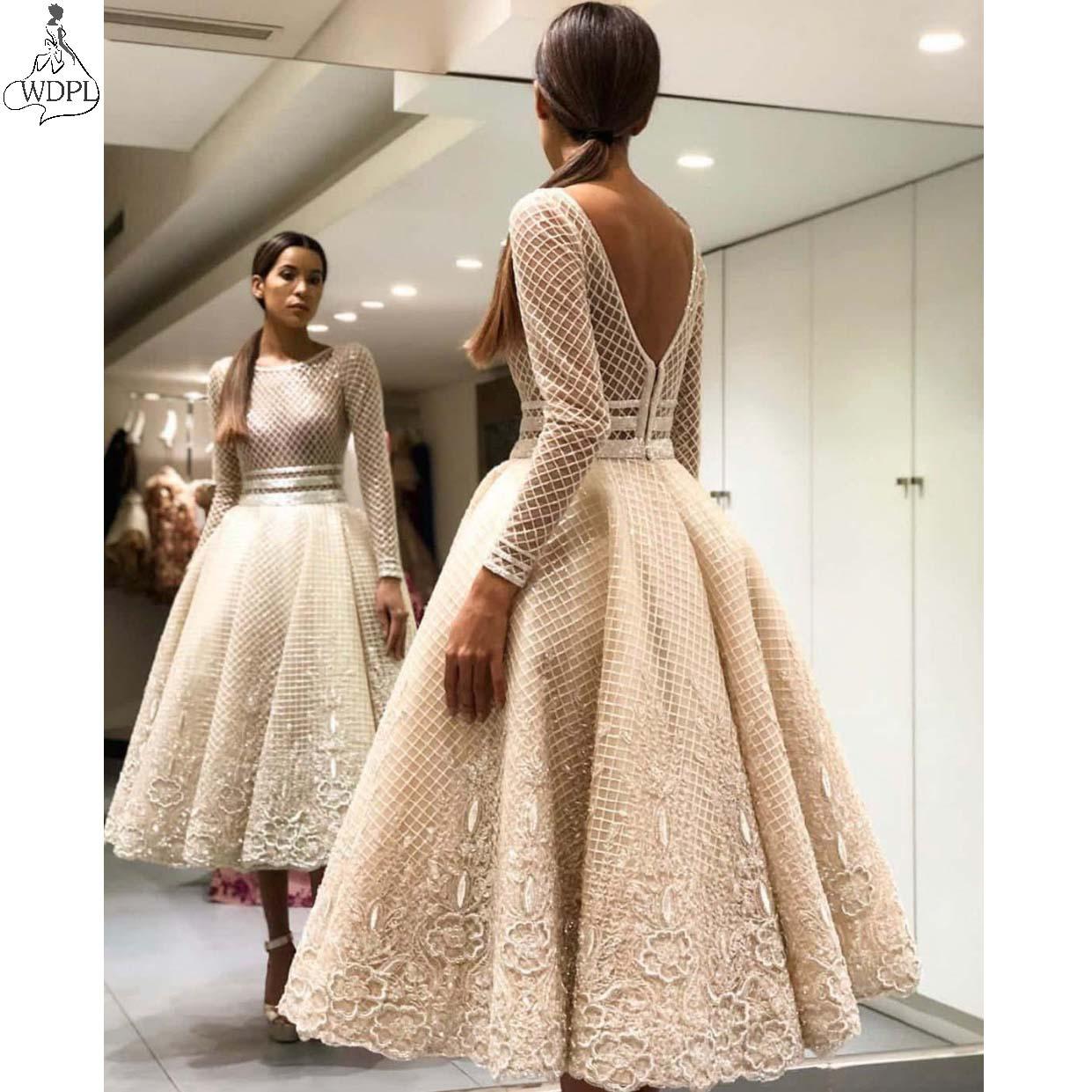 Robe de soiree Short   Prom     Dresses   Long Sleeve Chic Lace Applique Tea Length Evening   Dress   Arabic Women Formal Gowns Abendkleider