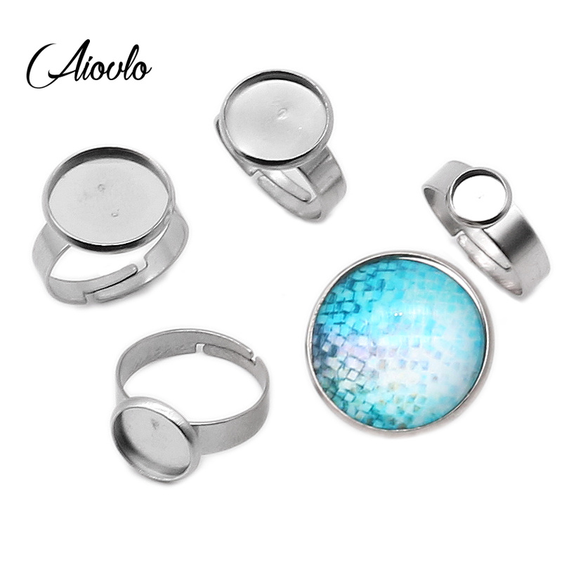 10pcs/Lot  Stainless Steel Adjustable Ring Settings Blank Base,Fit 6 8 10 12 20 25mm Glass Cabochons,Buttons;Ring Bezels