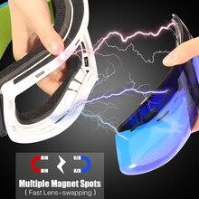 Jiepolly Ski Skiing Snowboard Goggles Sunglasses With Magnet Lens Unbreakeable Lens Anti-fog UV400 for Men Women