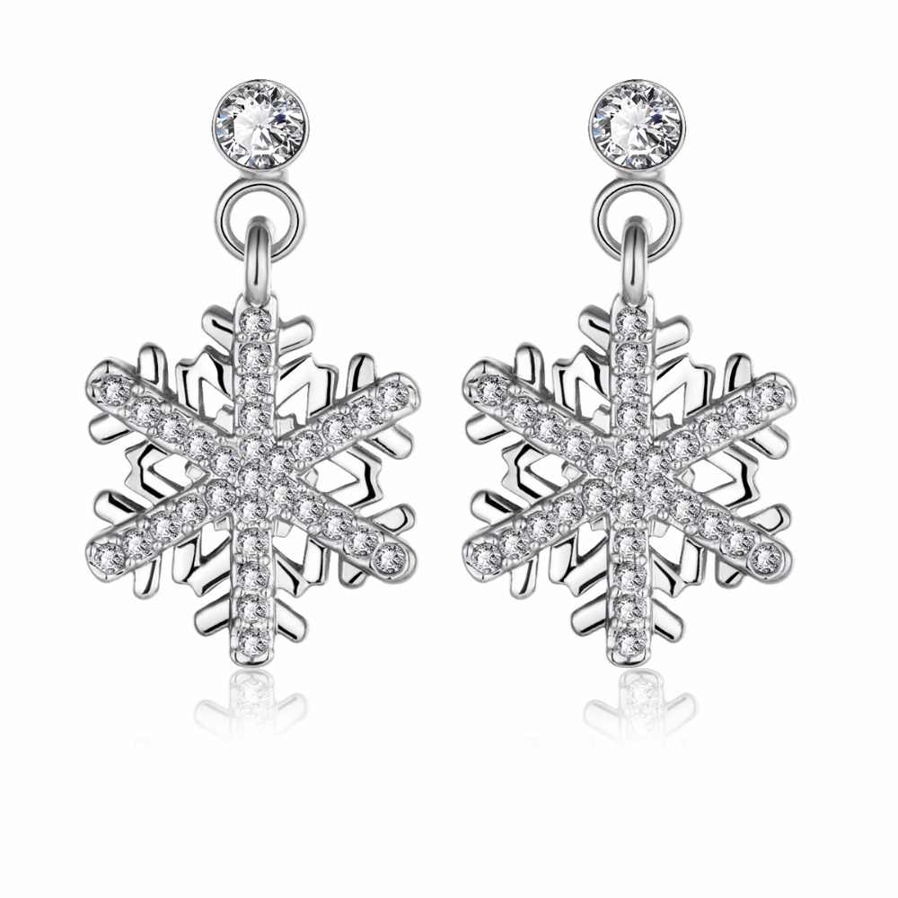 QIMING Silver Pure Snowflake Earrings For Women Girls Xmas Christmas Gift Rhinestone Snowflakes Crystal Earrings Women Jewelry