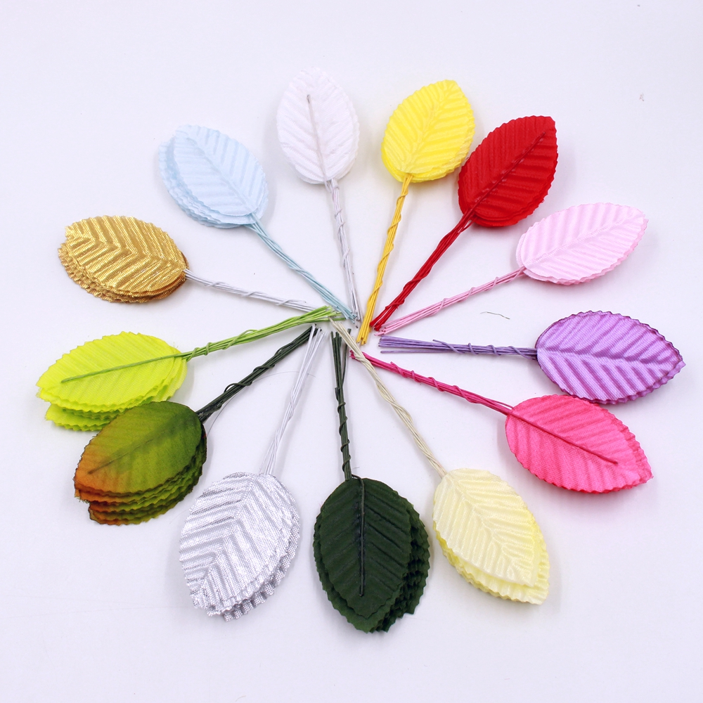 30pcs 5cm silk leaf shaped green leaves artificial flower for Artificial leaves for decoration
