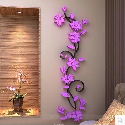 Fashion PVC Flower Mirror Home Art DIY Wall Sticker Living Room ...