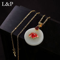2019 Real Jade Necklace Pendant For Women 100% 925 Sterling Silver Golden Color Pendant&Necklace Accessories Wholesale