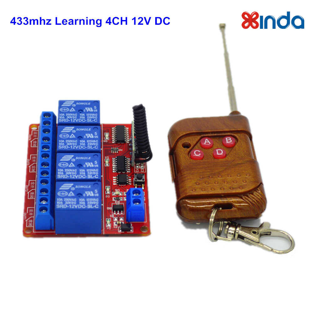 433 Mhz Remote Control Switch RF 12V 4 Channel Learning