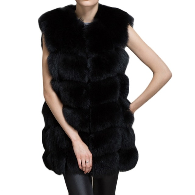 hairy Winter Coat Women Whole Peel Faux Fur Vest HighGrade Fur Coat Leisure Women Coat  Fashion Overcoat  free shipping