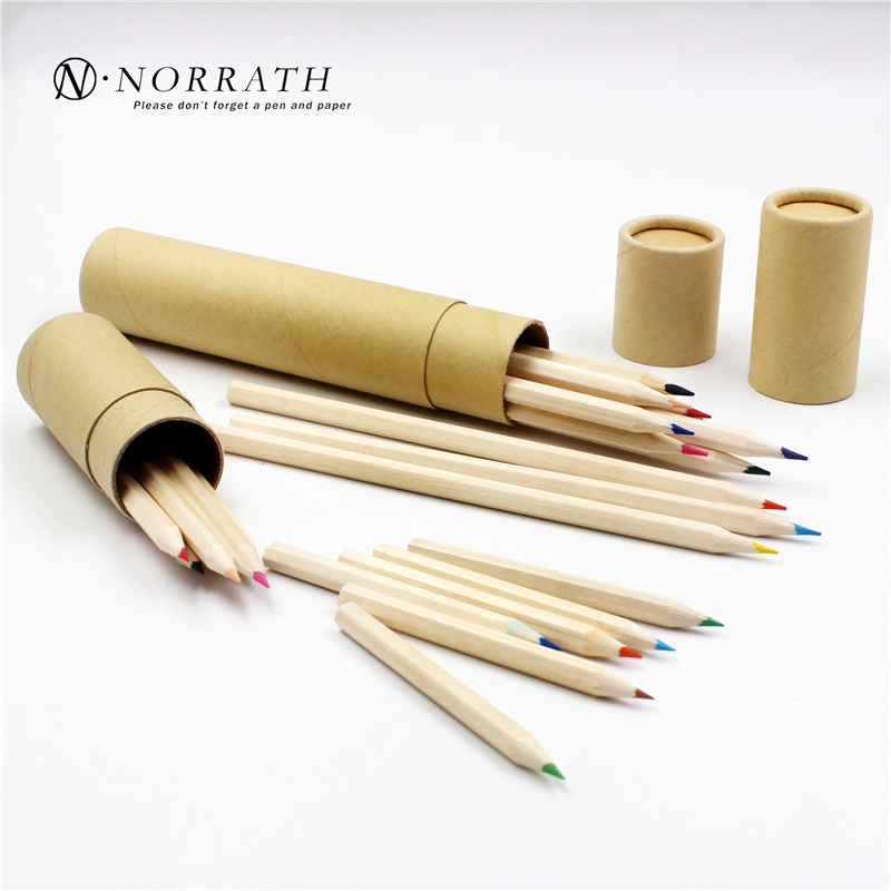 12 Pcs Kraft Paper Cartridges Pensel Multicolor 12 Warna Memasang Pemegang Sharpener Menggambar Warna Pewarna Warna Lead