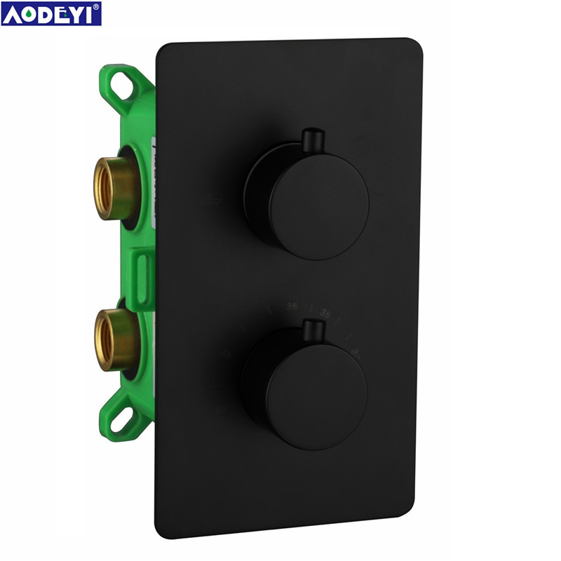 Thermostatic Shower Faucet Mixing Valve 2 or 3 Ways Concealed Easy-mount Box Brass Concealed Valve Wall Mount 11-023