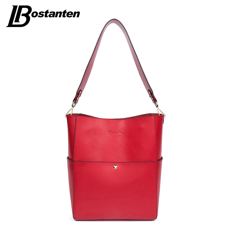 BOSTANTEN Split Leather Women Bags Famous Brand Ladies Handbags High Quality Tote Bag for Women Bucket Shlouder bags Red Sac A M 2017 new elegant handbag for women high quality split leather female tote bags stylish red black gray ladies messenger bag