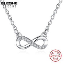 ELESHE 925 Sterling Silver Long Chain Necklace Vintage Crystal Infinity Pendant Necklace for Women Top Quality Fashion Jewelry(China)